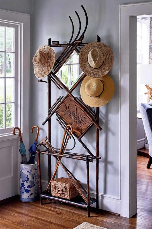 Hat and Cane Rack with Mirror in the Mud Room and Front Entryway.