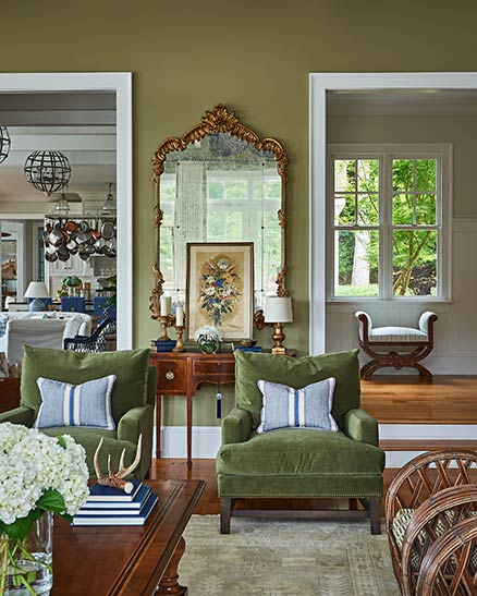 Living room of a beautiful lakehouse on Lake Wylie in South Carolina.