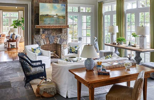 Fort Mill interior designer Lynn Blackwell designed this gorgeous Hamptons Wannabe Lake Wylie Lake home.