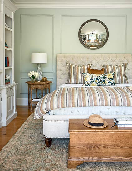 Fort Mill Interior Designer Lynn Blackwell made sure this beautiful master bedroom had lots of natural light in this Lake Wylie, SC home.